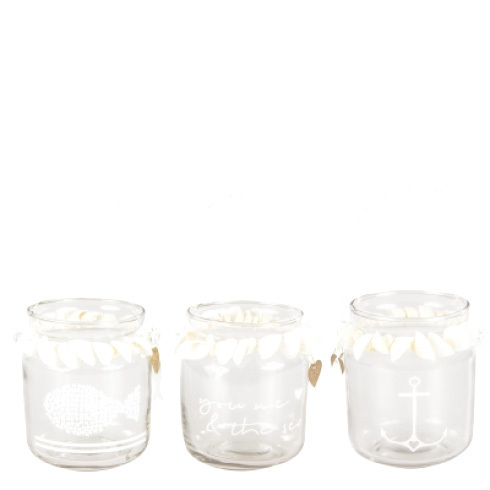 BASTION COLLECTIONS Teelicht Glas Muscheln
