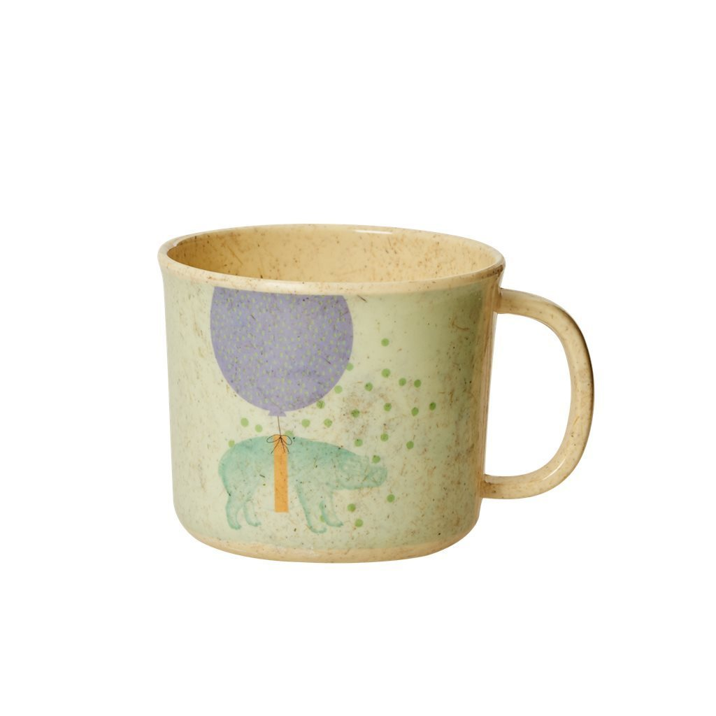 RICE Bambus Melamin Baby Tasse mit Griff Animal - Soft Blue