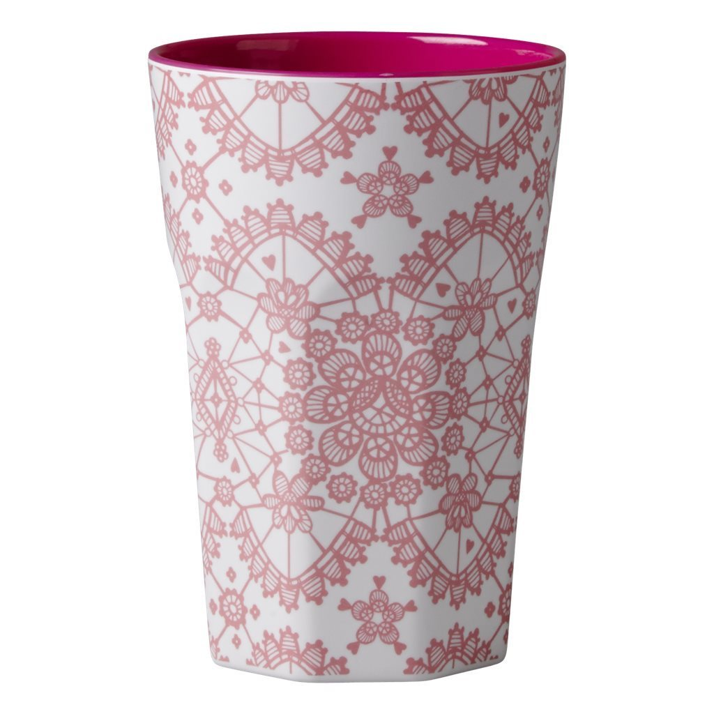 RICE Melamin Cup / Becher Lace coral hoch