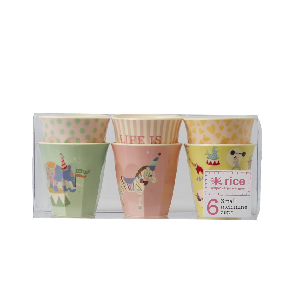 RICE Melamin Cup / Becher Set in Circus  small , 6 Stk.