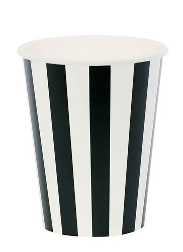 MISS ÉTOILE  Pappbecher black stripe 8 Stk.