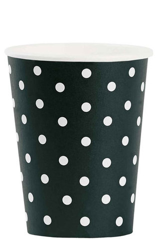 MISS ÉTOILE  Pappbecher black white dots 8 Stk.