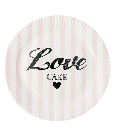 "MISS ÉTOILE  Pappteller ""love"" rose stripe 8 Stk"
