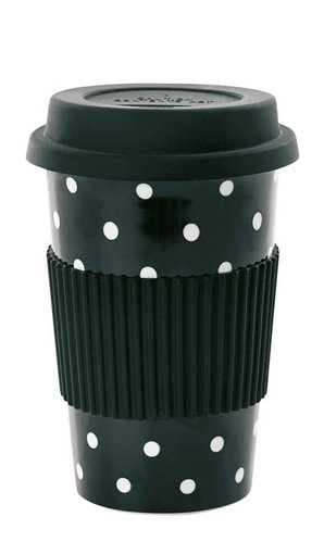 MISS ÉTOILE  To-Go Becher aus Porzellan black white dots