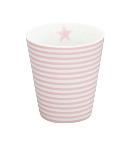 KRASILNIKOFF Happy Tasse/ Becher pink thin stripes