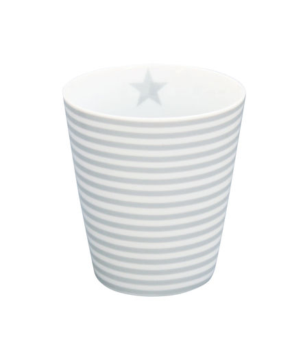 KRASILNIKOFF Happy Tasse/ Becher grey thin stripes
