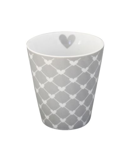 KRASILNIKOFF Happy Tasse/ Becher grey hearts diagonal