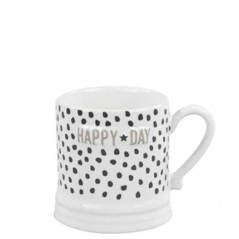 "BASTION COLLECTIONS Tasse/Becher klein ""Black dots & Happy Day"" titane"