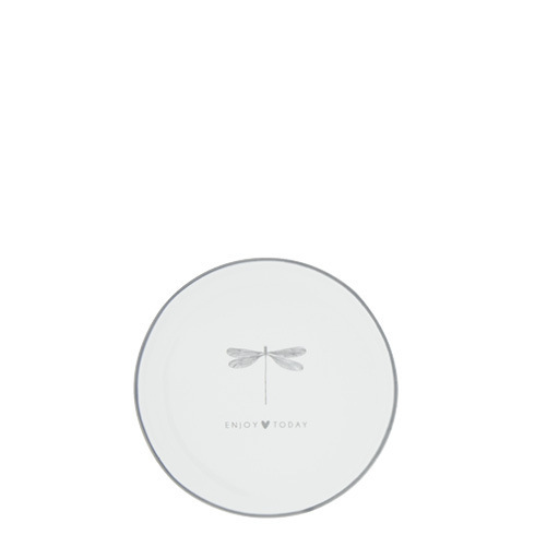 BASTION COLLECTIONS Teebeutelablage, Mini Teller 9cm White/Dragonfly Enjoy today grau