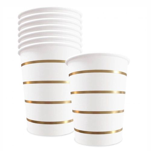 DELIGHT DEPARTMENT Pappbecher gold/stripes 8 Stk.