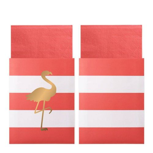 DELIGHT DEPARTMENT Servietten in Tasche Preppy Flamingo