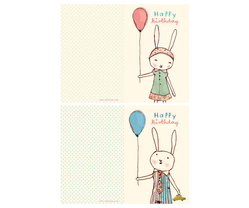 MAILEG Happy Birthday kleines Doppel-Kartenset  2 Sorten