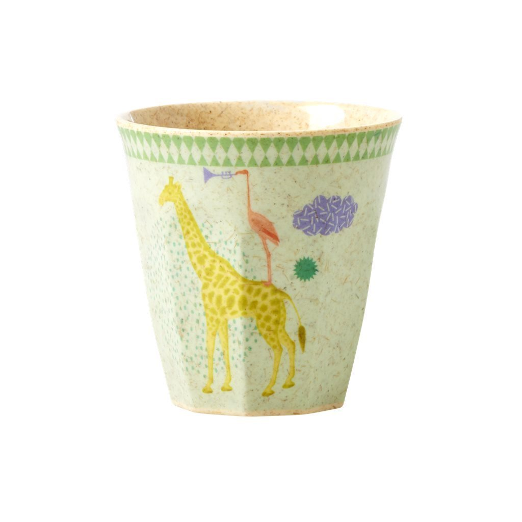 RICE Bambus Melamin Kids Cup / Becher/ Becher  Animal - soft blue-small