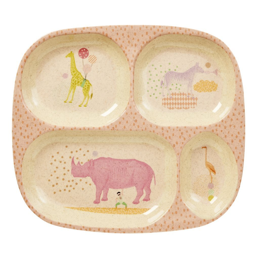 RICE Bambus Melamin Kids Teller Animal  - soft pink