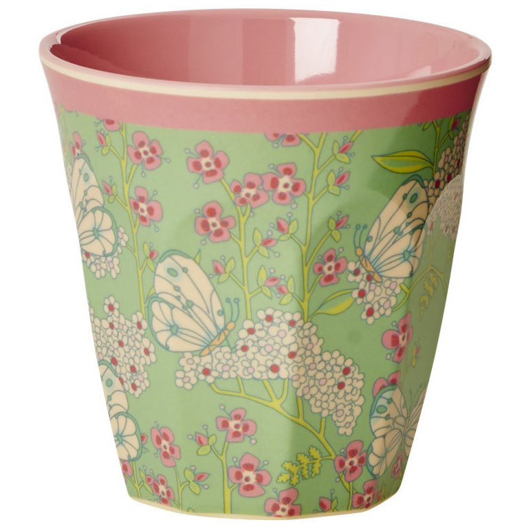 RICE Melamin Cup / Becher Butterfly and Flower  medium