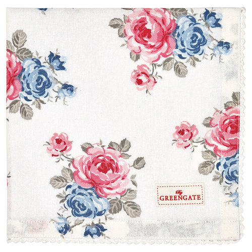 GREENGATE  Serviette Hailey white mit Stickerei