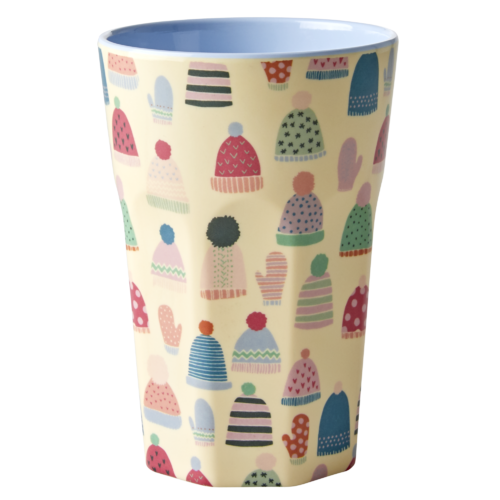 RICE Melamine Cup / Becher hoch Mittens and Beanies Print - Two Tone