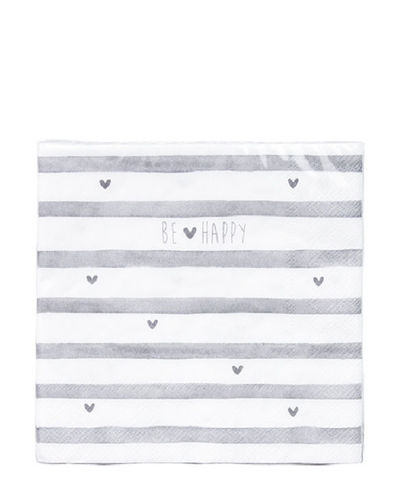 BASTION COLLECTIONS Servietten Be Happy & stripes 20 Stk. 33x33cm