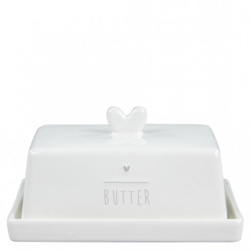 BASTION COLLECTIONS Butterdose white/heart grau