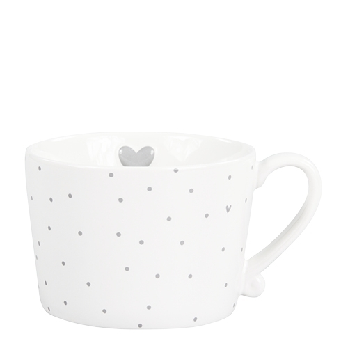 BASTION COLLECTIONS Tasse white little Dots & Herz grau 10x8.5x7cm