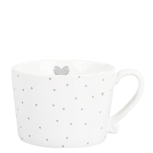 BASTION COLLECTIONS Tasse white Little Dots & Heart in Grey 10x8.5x7cm