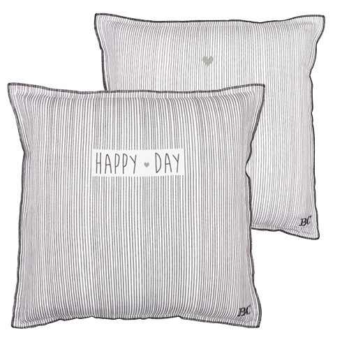 BASTION COLLECTIONS Kissen 50x50 weiss stripes/Happy Day gestreift dunkelgrau