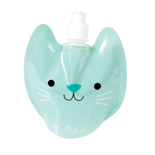 REX LONDON Faltbare Wasserflasche für Kinder Cookie The Cat
