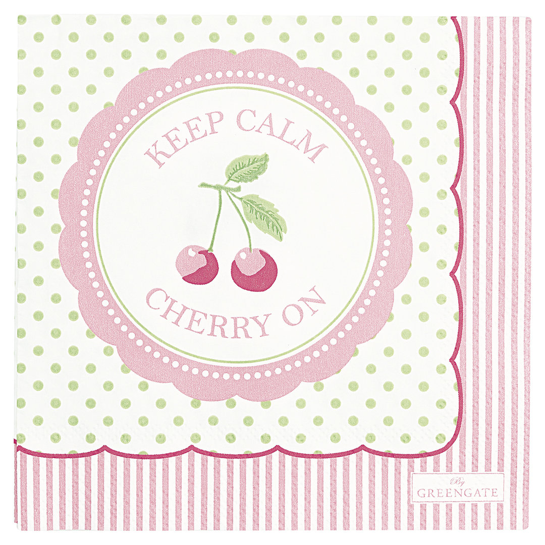 GREENGATE Serviette Cherry berry p.green klein 20 Stk.