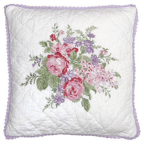 GREENGATE Kissenhülle Rose white mit Stickerei 40x40cm