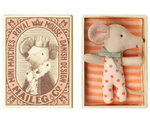 MAILEG Baby Maus  Sleepy/wakey in box - Girl-apricot