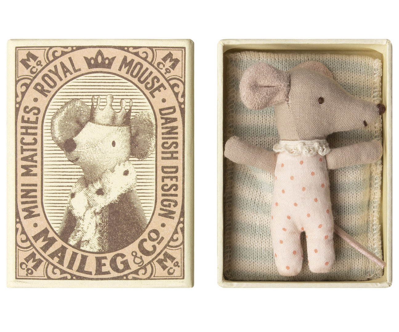 MAILEG Baby Maus/ mouse, Sleepy/wakey in box - Girl-blau