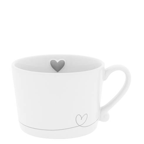 BASTION COLLECTIONS Tasse white/line heart in grey