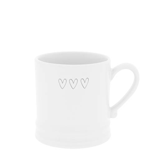 "BASTION COLLECTIONS Becher / Tasse klein ""3 hearts"" Herzen grey 8x7 cm"