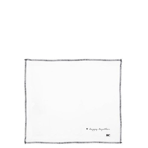 BASTION COLLECTIONS Serviette Leinen White Linen Happy Together in Black
