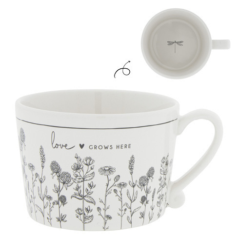 BASTION COLLECTIONS Tasse White/Love grows here 10x8x7cm