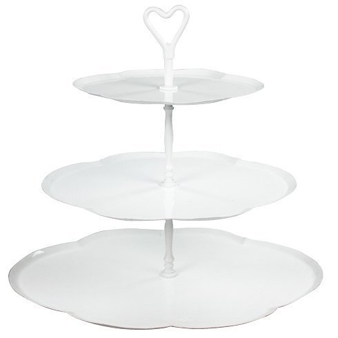 BASTION COLLECTIONS Etagere oval 3 stöckig Emaille weiss H47xW47x37.6cm