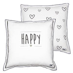 BASTION COLLECTIONS Kissen 50x50 White/Happy & Hearts in Dark Grey