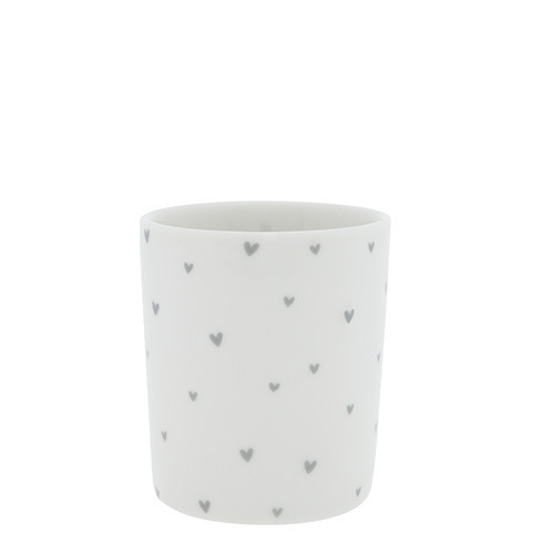 BASTION COLLECTIONS Becher White/hearts in grey 8x8x9cm
