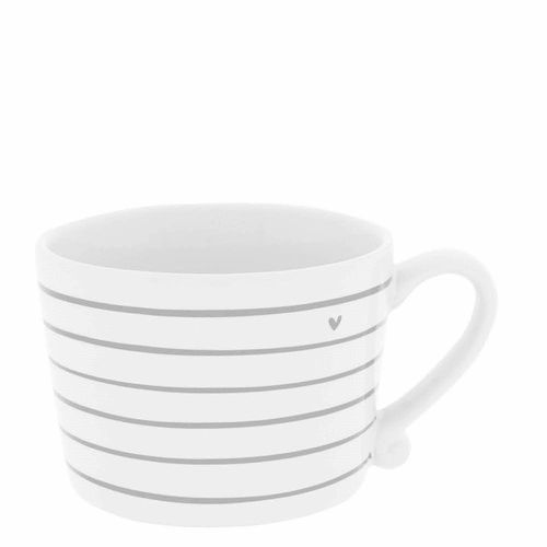 BASTION COLLECTIONS Tasse White / Stripes & Heart in Grey 10x7cm