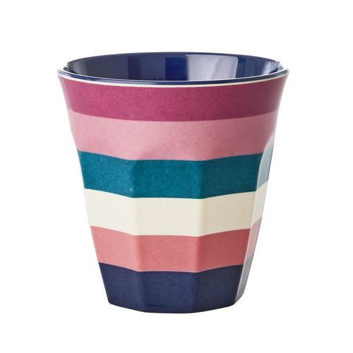 RICE Melamin Cup / Becher Stripe Print - Two Tone Print medium