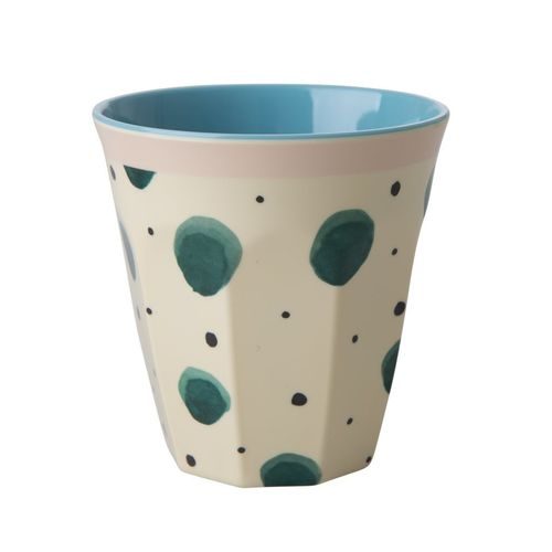RICE Melamin Cup / Becher Watercolor Splash Print - Two Tone - medium