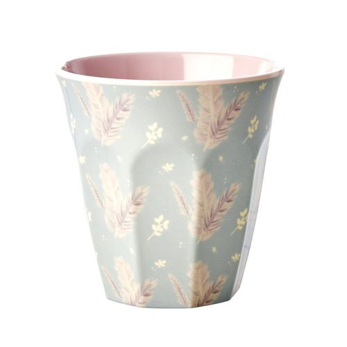 RICE Melamin Cup / Becher Feather Print - Two Tone  medium