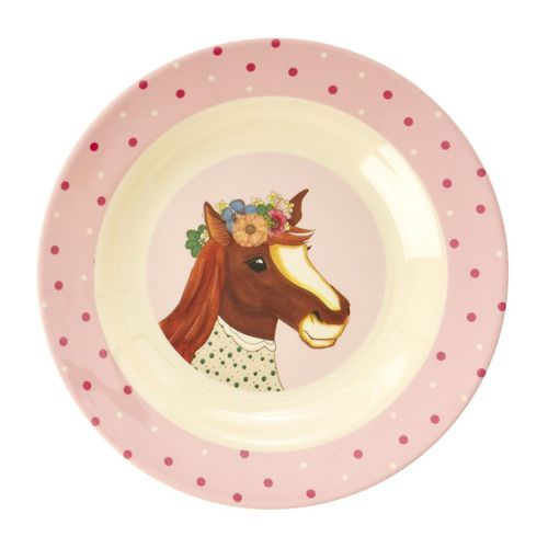 RICE Melamin Kids Bowl / Schale Farm Animals Print - Pink