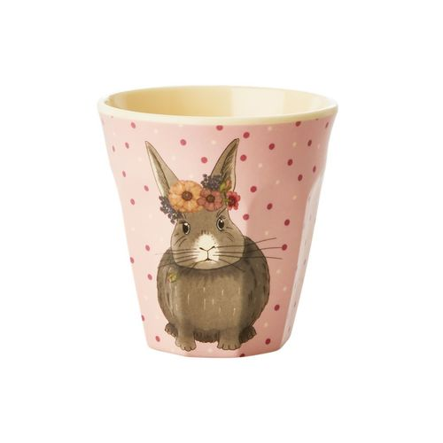 RICE Bambus Melamin Kids Cup / Becher/ Farm Animals Print - Pink - Small