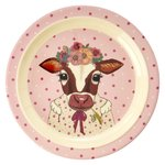 RICE Melamin Teller Kids Farm Animals Print - Pink