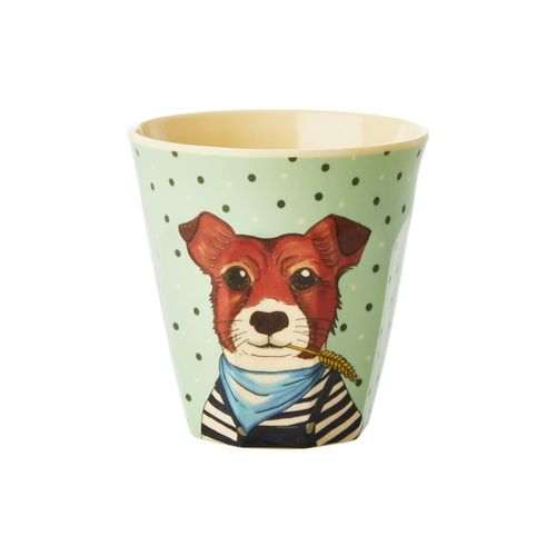 RICE Bambus Melamin Kids Cup / Becher/ Farm Animals Print - Green - Small