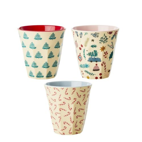 RICE Melamin Becher medium Christmas Prints / verschiedene