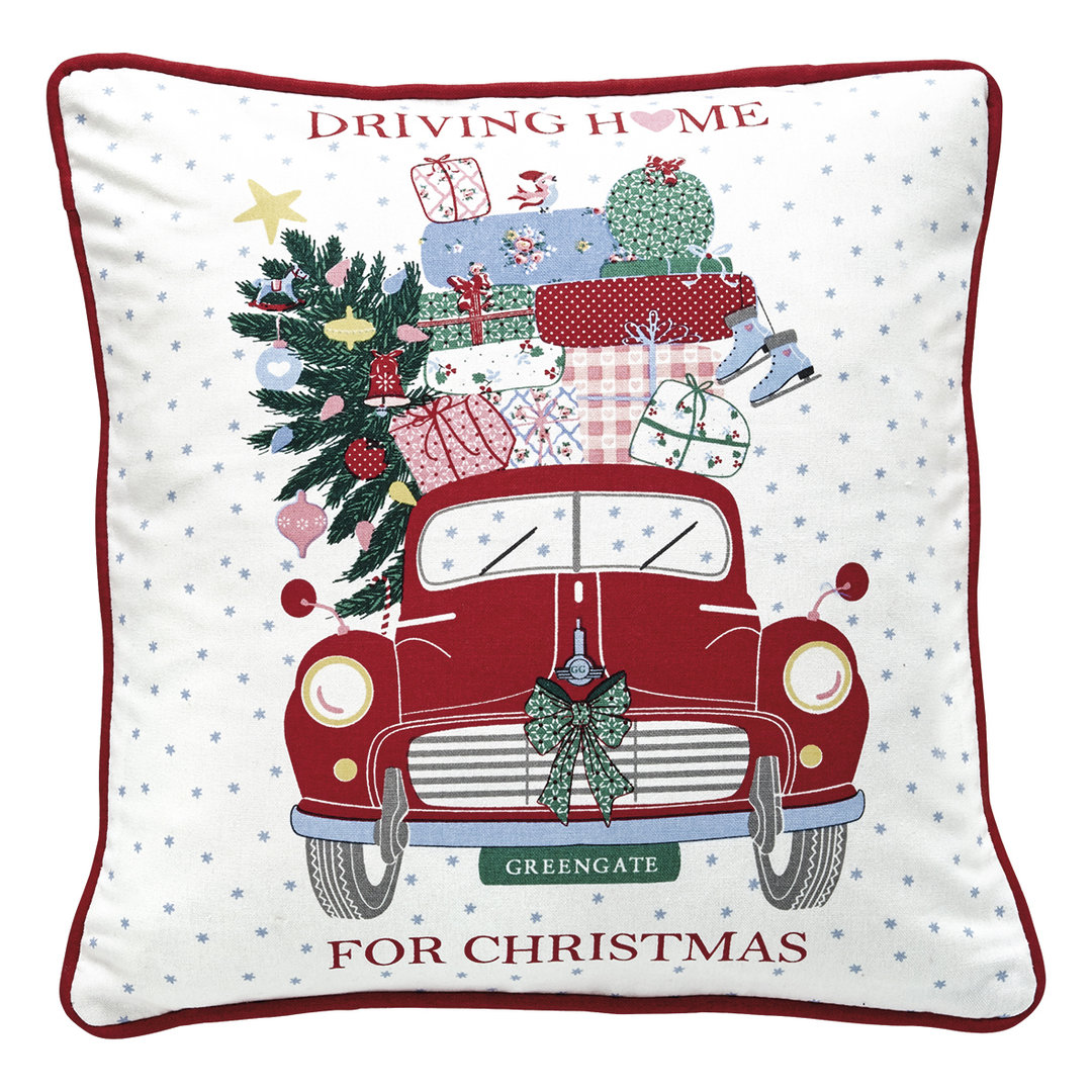GREENGATE Kissenhülle Christmas Car red pieceprinted 40x40cm