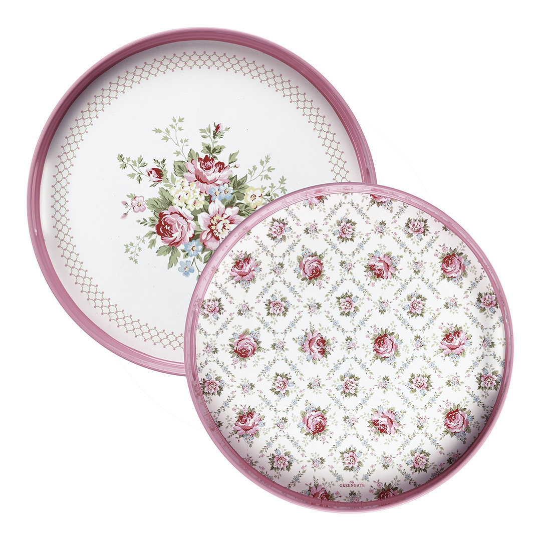 GREENGATE Tablett Aurelia white round Set 2 Stk.