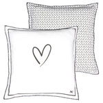 BASTION COLLECTIONS Kissen 50x50 White Chambray Heart/Hearts black